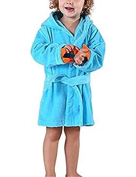 YOGLY Albornoz Para Niños Toalla con Capucha Bata de Baño con Capucha de la de Felpa Pijamas Camisón