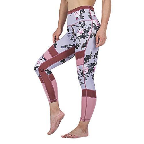 ZHANSANFM Sporthose Damen Leggings Sexy Blumendruck Knöchellang Yoga Tights Blickdichte Dehnbar High Waist Hosen Mode Slim Fit Atmungsaktiv Yogahose Fitness Sport Jogginghose (M, rot) -