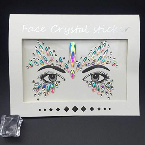 PENVEAT Hippie-Geck-Aufkleber Self Adhesive Strass-Kristall-Dekoration für Schmuck Accessoires Musik-Party-Augen-Kunst-Aufkleber H, Neongrün