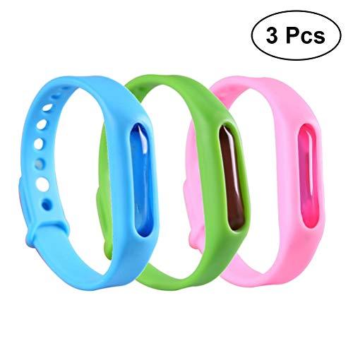 Vosarea Anti-Mücken-Armband, ungiftig, verstellbar, für Erwachsene, Kinder, 3 Stück (zufällige Farbauswahl)
