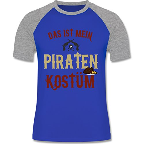 Shirtracer Karneval & Fasching - Das ist Mein Piraten Kostüm - Herren Baseball Shirt Royalblau/Grau meliert