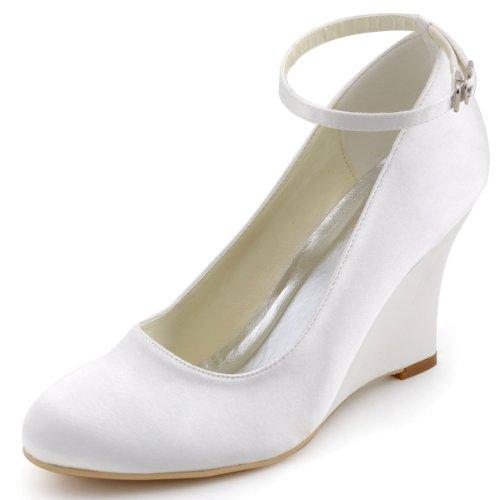 ElegantPark A610 Escarpins Femme Satin Bout Rond Bride Cheville Compense Chaussures de mariee Bal