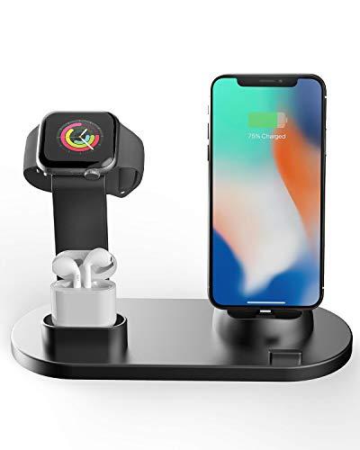 Henison Handy Phone Ladestation Ständer, 3 in 1 Wireless Charger Halterung für iPhone Xs/XR/X/8/8 Plus, 10W Qi Ladegerät Kompatibel mit Type-c, Android, iPhone Aba Bluetooth