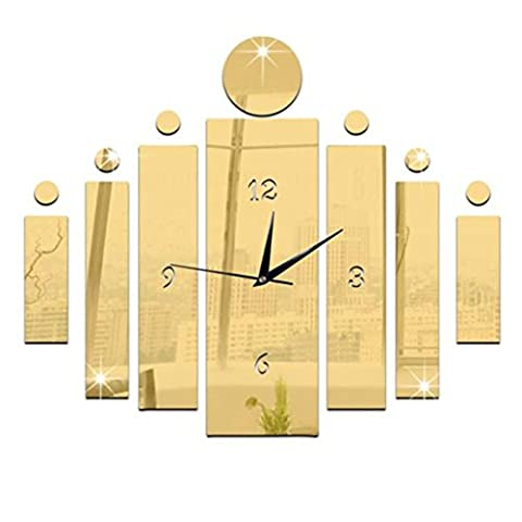 Wall Clock,Clode® 60x50cm Unique Modern Design Home Office Decor 3D Frameless DIY Large Wall Sticker Clock Watches Mirror Effect Decal Home Baby Room Decoration Acrylic Glass (Gold)
