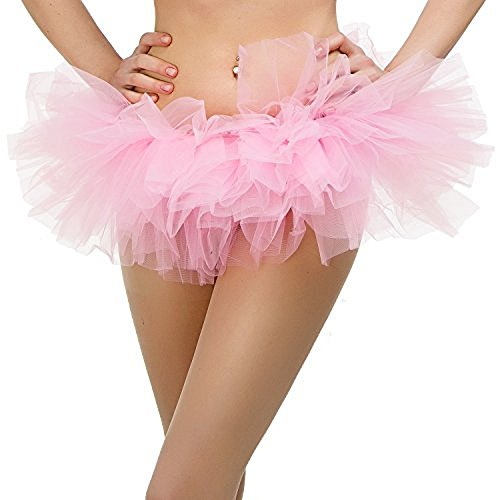 ne Size Fits All) with 5 Layers of Tulle & Satin Lined Waistband Miniskirt Tutu for All Women (Pink) (Womens Tutus)