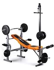 Klarfit Ultimate Gym 3500 banco de entrenamiento (dispositivo multifunción de musculación, curler de brazos y piernas ajustable, soporte de pesas ajustable, carga máxima de 250 kg)