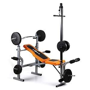 Klarfit Station de fitness multifonction à la maison Ultimate Gym 3500 • Banc de musculation • Bras et jambes • Capacité de 150kg • Entraînement complet d'endurance et de force • Entièrement réglable • Orange/noir, orange/noir