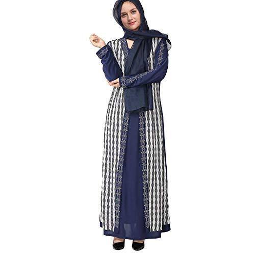 CixNy Muslimische Vintage Doppelschicht mit Hijab Langarm Frauen Kleider Plaid-Druck Tunika Abaya Dubai Damen Casual Abendkleid Hochzeit Kaftan Robe Muslim Lang Maxikleid Islamische Kleidung ()