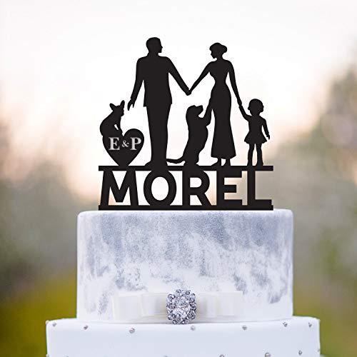 Andrea1Oliver Golden Retriever Cake TopperPaar mit Baby Cake TopperFamily Cake Topper mit M?dchenHochzeitstorte Topper mit Dogmr und Frau mit Doga128 -