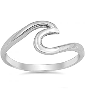 Sterlingsilber Wellen-Ring