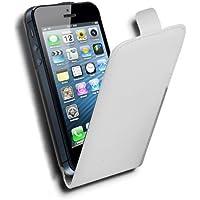 Cadorabo Apple iPhone 5   iPhone 5S Custodia di Finta-Pelle FLIP LUSCIO in  BIANCO 80c3a569cae9