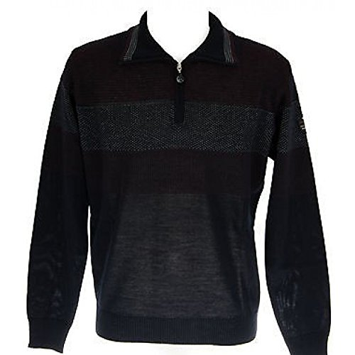 Herren Pullover Zip wolle Kunst CRAB. 12841 t. 48 Col. BLAU (Zip Wolle Pullover)