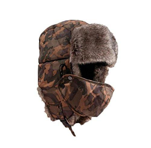 Tongshi Suave impermeable unisex del camuflaje del sombrero del invierno del viento Máscara Varios métodos del desgaste del casquillo del sombrero caliente al aire libre a prueba de frío Rimq (Amarillo)