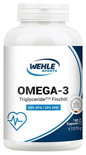 Omega 3 Kapseln hochdosiert Triglyceride Fischöl - 180 Fish Oil Softgel 500mg EPA 250mg DHA ohne Vitamin E Omega-3 Fettsäuren - Aufwendig gereinigt, hochdosiert und aus nachhaltigem Fischfang - Omega 3 Dha Kapseln