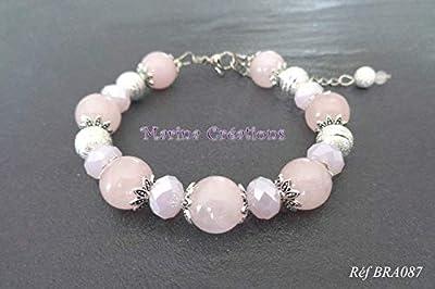 Bracelet Quartz rose véritables et perles stardust argentées