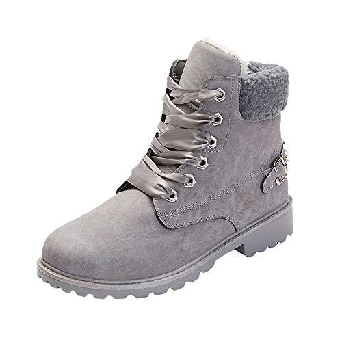 DEELIN Feste Schnürstiefel Casual Stiefeletten Runde Kappe Schuhe Winter Schnee Stiefel