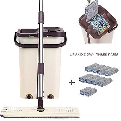 CHEIRS Clean Komplett Set Touchless Mop Profi Bodenwischer Set Mit Eimer Mopp Wischmopp Kompakt Bodenreiniger Mit -Technologie