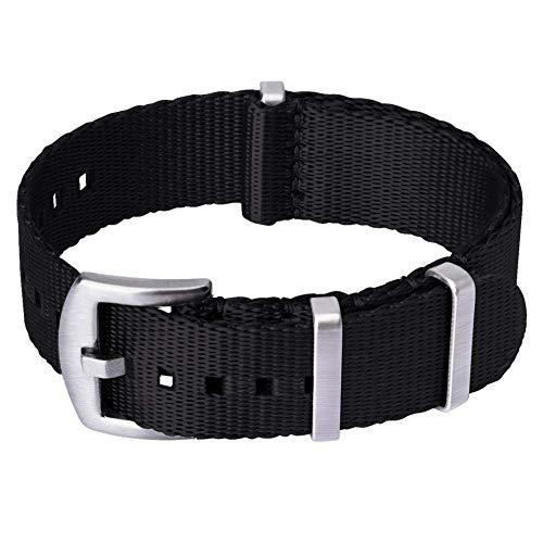 Für Apple Watch Band 38mm 42mm Soft Nylon Sport Loop Band Verstellbar Verschluss Handgelenk Riemen Atmungsaktiv Woven Nylon Ersatz für Apple Watch Serie 3,2,1, Black-Pinkish Weave Color, 42 mm -