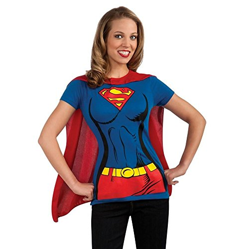 Damen T-Shirt Supergirl & Cape Kostüm Kit Superwoman Superman Man of Steel Gr. Damen X-Large, blau (Supergirl T-shirt Kostüm)