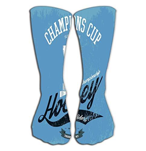 Outdoor Sports Men Women High Socks Stocking Hockey Trophy Cup Print Sportswear Logo Championship Banner American Tournament Emblem Professional Tile Length 19.7
