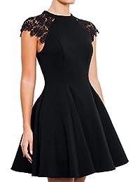 SUNNOW Robe Vintage Robe de Soirée 50 Audrey Hepburn Robe Cocktail Noir, Robe de Bal Robe Rockabilly 50's Swing Party Dress