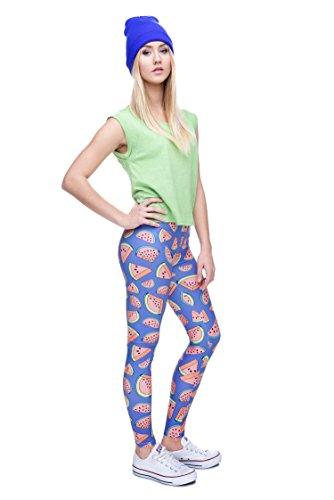 Damen Sport Leggings Hipster Jogahose Muster Sporthose Mädchen Lang Treninganzug Blogger Fullprint Onesize WATERMELON PURPLE