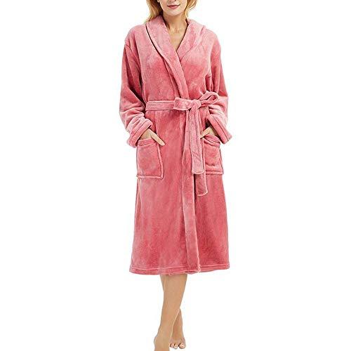 VJGOAL Invierno Mujer Moda Casual Bata de Noche Suave Felpa Transpirable Albornoz Ropa de Dormir Manga Larga Bata de baño con Cordones Pijamas Bata(XXX-Large,Rojo)