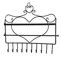 QueenHome Wall Mounting Heart-shaped Earrings Necklaces Hook-holder Clothes Hanger Organizer Display For Jewelery To Store Chains Earrings Rings