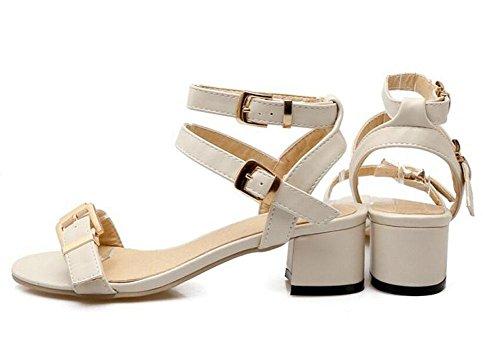 GLTER Frauen Knöchelriemen Pumps Gürtelschnalle mit Sandalen Sandalen Seite leere Straps Court Schuhe Beige