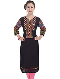 Crazora Women's Black Mirror Work Cotton Kurti