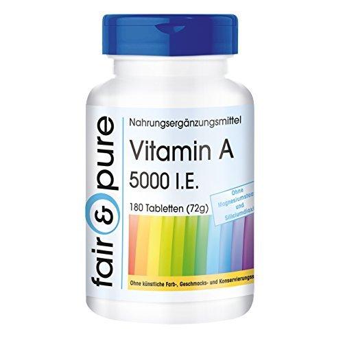 Vitamina A 5000 U.I. (1500µg) - acetato di retina - vegan - senza stearato di magnesio - 180 Compresse