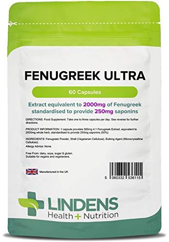 Lindens Fenogreco Ultra 2000 mg en cápsulas | 60 Paquete | Ultrapoten