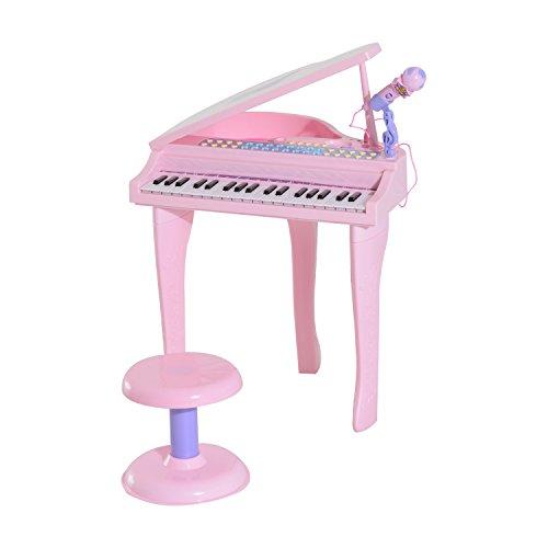 Homcom mini pianoforte elettrico giocattolo per bambini 37 tasti con microfono e sgabello 48 × 39 × 69cm rosa