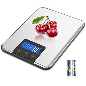MOSUO Küchenwaage Digitalwaage Professionelle Waage,15KG/1G Haushaltswaage Digital für die Küche, Electronische Waage mit LCD-Display, Tara-Funktion,Inkl Batterie