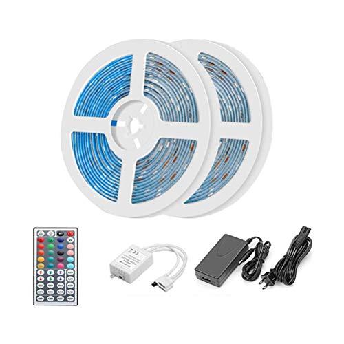 Dimmbares LED-Lichtleisten-Kit RGB-Farbwechsel 10M / 32.8ft Beleuchtungsstreifen IP65 Wasserdicht 600 Einheiten 2835 LEDs Band 12V mit 44 Tasten IR-Fernbedienung für Hauptdekoration VHFIStj -