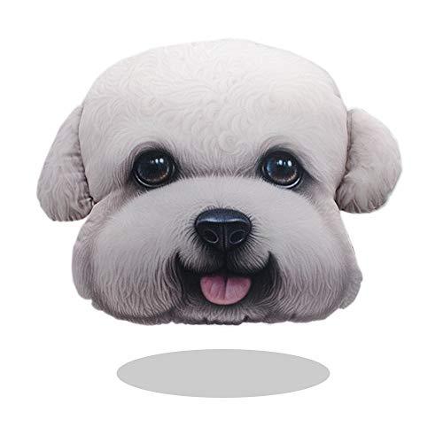 Auto poggiatesta cuscino, creative 3d animal testa collo cuscino per sedile auto, protezione collo cuscino in carbonio con borsa white teddy
