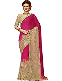 SareeShop Women's Georgette Saree With Blouse Piece(Pink ,Free Size)