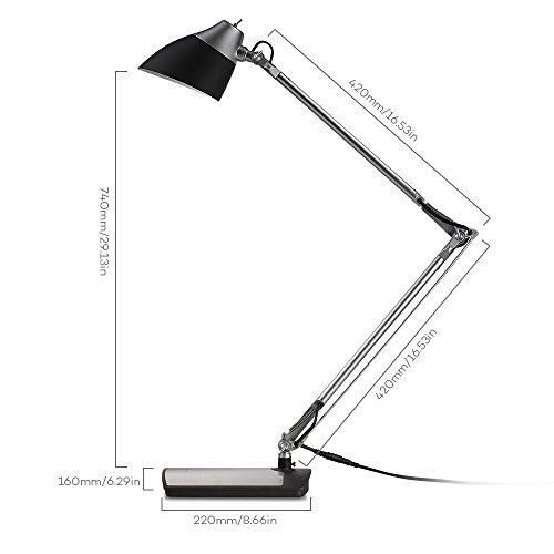 Lampada-LED-Scrivania-TaoTronics-Lampada-da-Tavolo-6W-Braccio-Flessibile-Testa-Rotabile-Eye-Care-Finitura-in-Argento-Nero