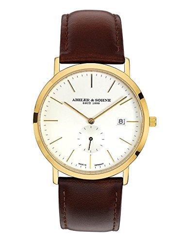 Abeler & Söhne Reloj de hombre fabricado en Alemania con cinta de piel, cristal de zafiro y fecha as1187