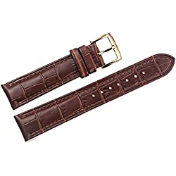 19mm Brown Italian Leather Replacement Watch Straps/Bands Grosgrain Padded with Gold Pin Buckle Handmade for Luxury Watches