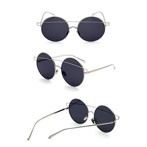 Yiph-Sunglass Sonnenbrillen Mode Retro Runde Metall voll umrandeten Sonnenbrille UV-Schutz für Outdoor Driving Ferien Sommer Strand für Frauen Männer. (Farbe : Schwarz)