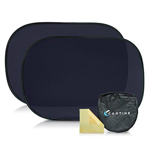 CARTINZ Sonnen- und UV-Schutz - 2 selbsthaftende Sonnenschutzblenden für optimalen Schutz vor der Sonne im Auto - ohne Saugnäpfe | Gratis Putztuch & Aufbewahrungstasche | Sonnenschutz