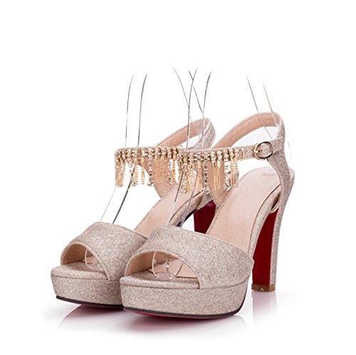 LGK&FA Estate Donna Sandali sandali Donna Scarpe di nozze di diamante tallone grossolana Super tavola di acqua alta Bocca di pesce scarpe di grandi dimensioni 37 argento 41 gold 8 cm high heel