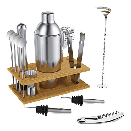 Rackaphile Cocktailshaker Set 14 pcs Cocktailshaker Set, Cocktail Shaker + Cocktail Messbecher + Cocktail Sieb + Eiszange + Flaschenöffner + Löffel + Muddler + Likörausgießer + Trinkhalm + Rack