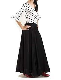 Conjunto de Danza Flamenco o sevillanas. Maillot con Volante en la Manga y Falda de Vuelo con un Volante