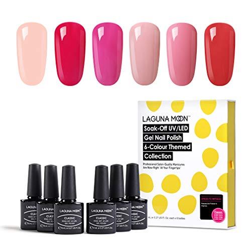 Lagunamoon smalto per unghie, gel unghie uv led, 6pz smalti per unghie gel colori, regalo kit manicure smalto per unghie semipermanente – 002
