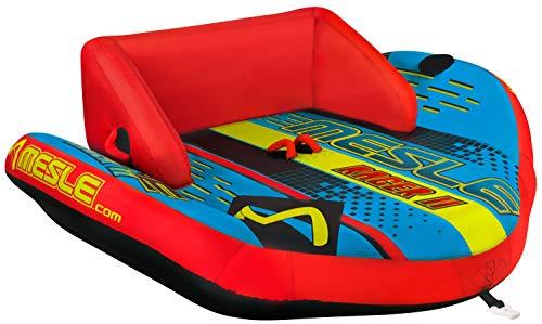 MESLE Tube Racer 2, Towable-Couch, Fun-Tube, blau-rot, Multirider für Zwei Personen, aufblasbar, ziehbar, 185cm x 216cm, Familie, Kinder, Aufstiegshilfe, verstärkte Zugvorrichtung, Boston Ventil -