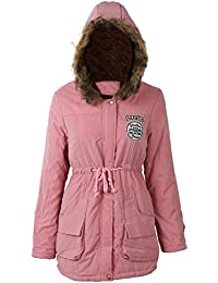 SODIAL(R) Mujer Abrigo largo de acolchado grueso de invierno de piel encapuchado Ropa