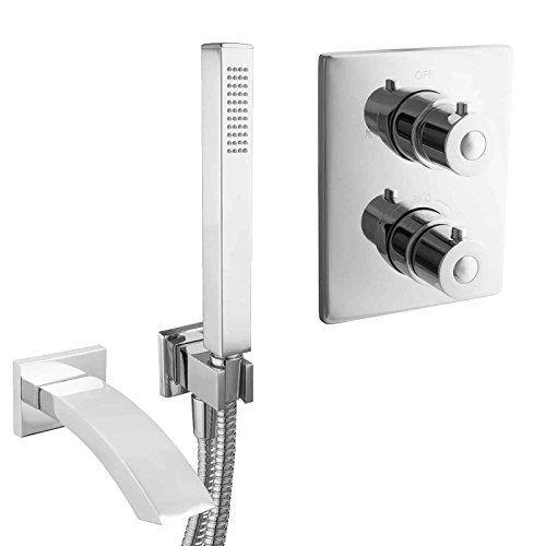 PaulGurkes Unterputz Komplett Wannenset mit Thermostat-Mischbatterie