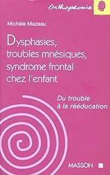 DYSPHASIES, TROUBLES MNESIQUES, SYNDROME FRONTAL CHEZ L'ENFANT. Du trouble à la rééducation
